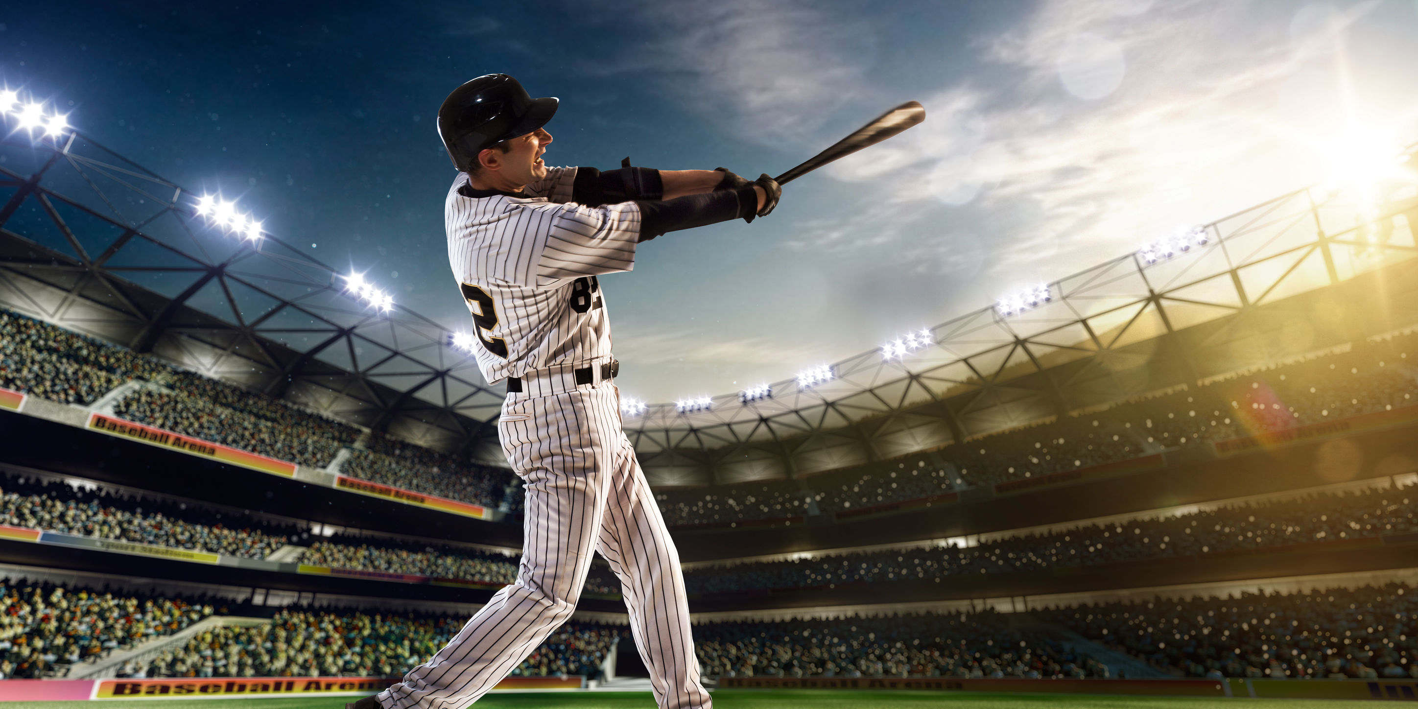 36880508 - professional baseball player in action on grand arena